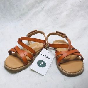 Cat & Jack Size 7 Slide On Cognac Mabyn Sandals
